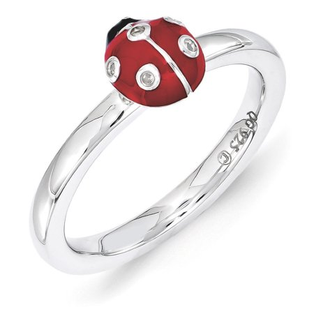 Sterling Silver Stackable Enamel .015Ctw Diamond 7mm Ladybug Ring](Silver Diamond)
