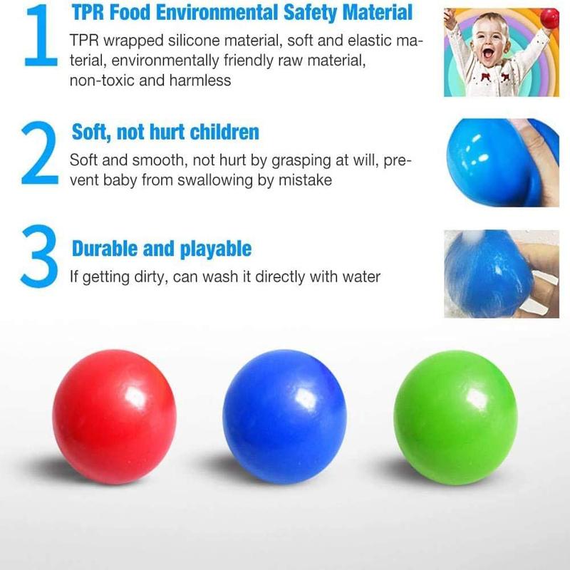 KAZOLEN 4Pcs Ceiling Sticky Balls Glow Stress Relief Balls Squishy Throw Ball for Kids