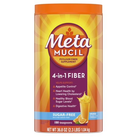 Metamucil Fiber, 4-in-1 Psyllium Fiber Supplement, Sugar-Free Powder, Orange Flavored Drink, 180 Servings