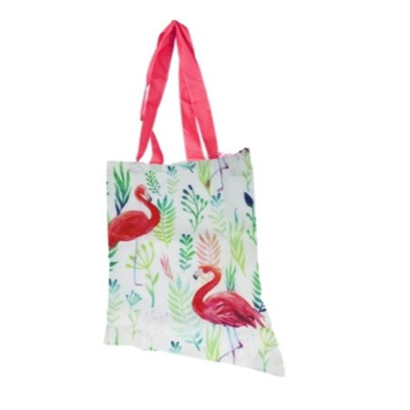 Flamingo Polyester Foldup Shopping Bag with Matching Zippered Storage Pouch (Flamingo Shoppen)