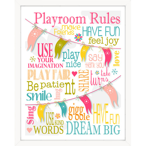 Finny and Zook Playroom Rules Pink Bunting Paper Print