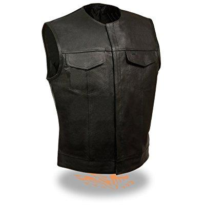 Milwaukee men's sons of anarchy style leather vest w/ 2 i...