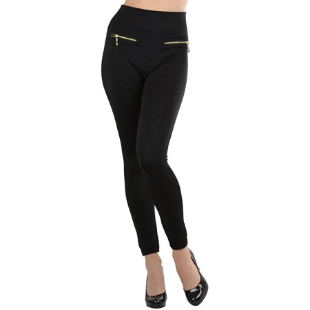 Zipper Leggings Pants - ToBeInStyle Women's Fleece Lined Leggings with Zipper Pockets