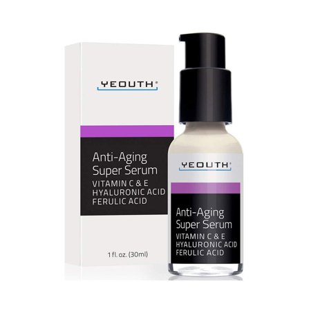 Anti-aging Super Serum, Ferulic Acid, Vitamin C, Vitamin E, Hyaluronic Acid by YEOUTH. Night Cream and Day Cream. Face Cream Reduces Visible Signs Of Aging, Wrinkles, Fine Lines, Unscented -