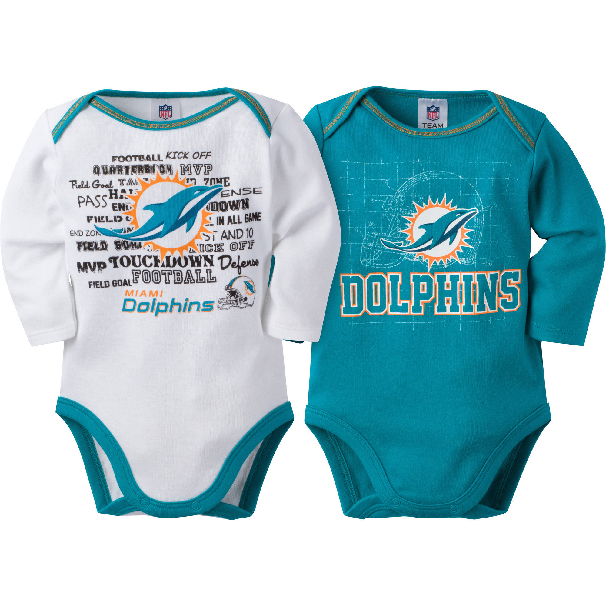 NFL Miami Dolphins Baby Boys Long Sleeve Bodysuit Set, 2-Pack
