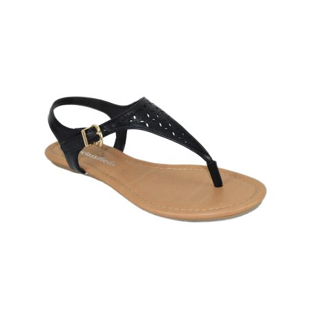 Side Buckle Sandal - Artesia Black Flat Women Cut Out Sandals City Classified Ankle T Strap Buckled Thong