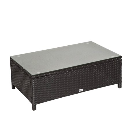 Kinbor Rectangle Patio Wicker Rattan Side Table w/Glass Top ()