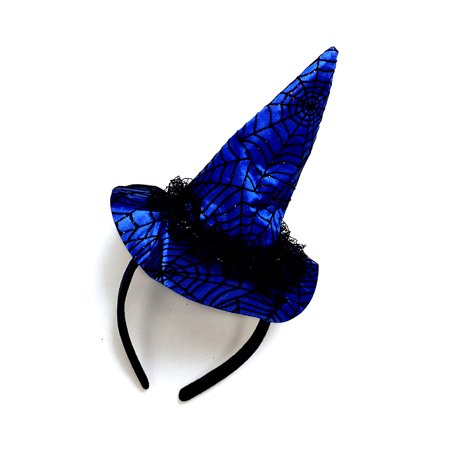 - Pretend Play Dress Up Mozlly Blue Wicked Witch Spider Web Hat Halloween Headband (Multipack of 6)