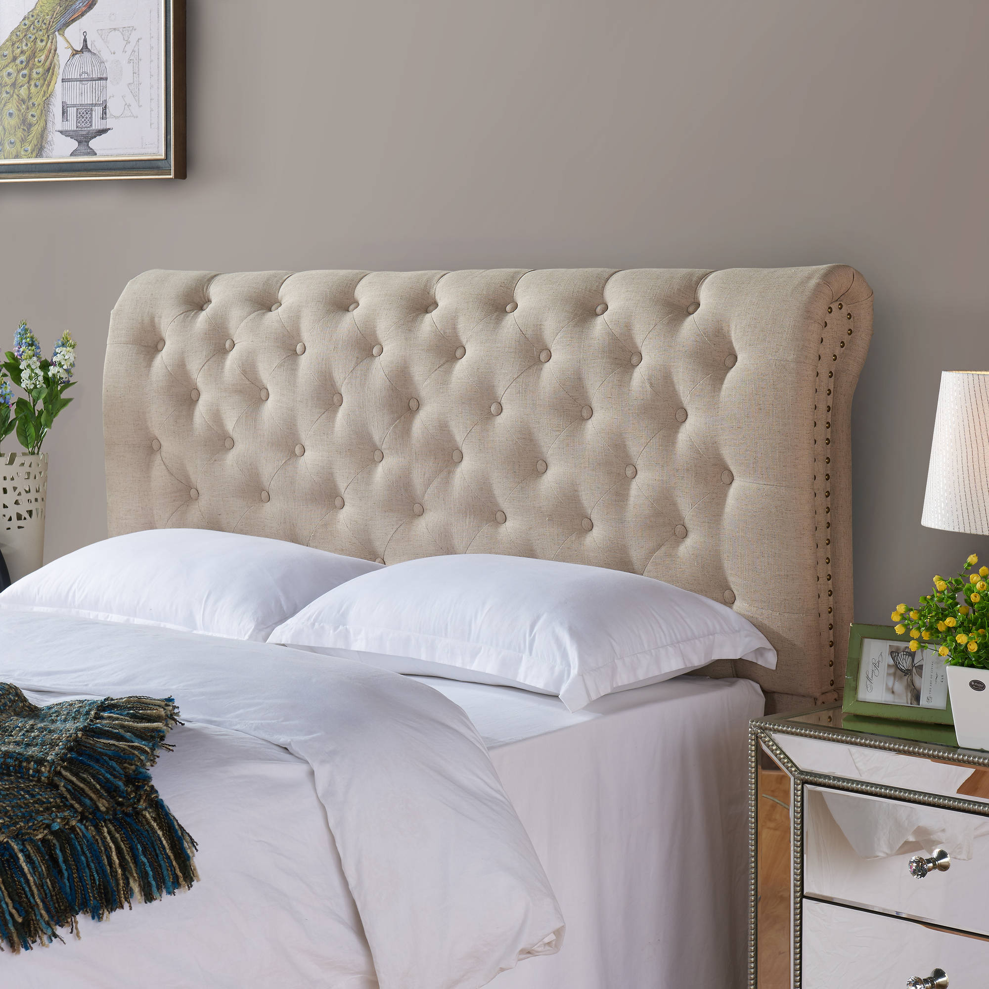 Better Homes and Gardens Rolled Tufted Upholstered Headboard, Sand, Multiple Sizes