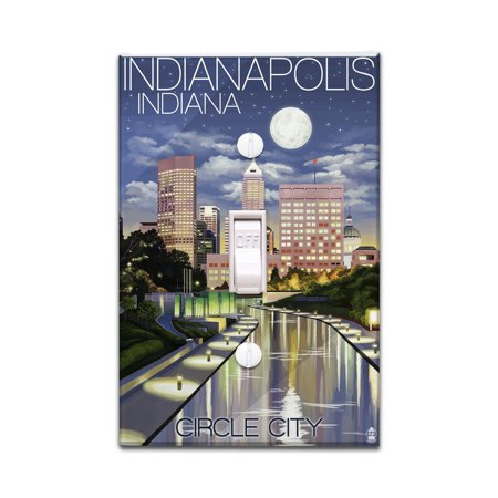 Indianapolis, Indiana - Indianapolis at Night Circle City - Lantern Press Artwork (Light Switchplate Cover) (Circle Switch Plate)