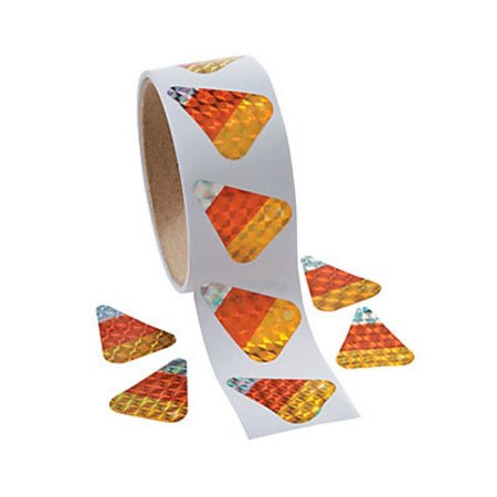 Corn Roll (Candy Corn Prism Halloween Roll Stickers ~ 100 Stickers ~ 1 1/8