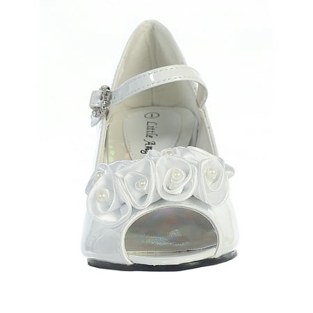 Dempsey Marie Girl's Peep Toe Dress Shoe with Satin Flowers - Ivory Dress Shoes For Girls