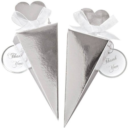 Wilton Gift Cone Favor Kit, Silver 50 ct. 1006-1165