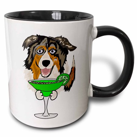 3dRose Funny Cute Australian Shepherd Dog Drinking Margarita - Two Tone Black Mug, 11-ounce