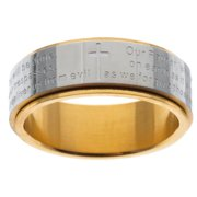 Stainless Steel and Yellow IP Lord's Prayer Spinner Band Size 9