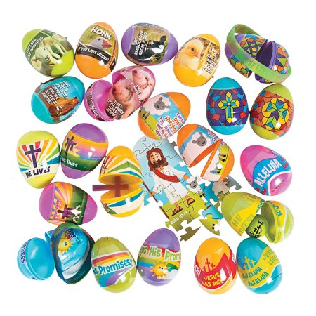 Fun Express - Religious Filled Mega Assortment for Easter - Party Supplies - Pre - Filled Party Favors - Pre - Filled Plastic Containers - Easter - 504 Pieces
