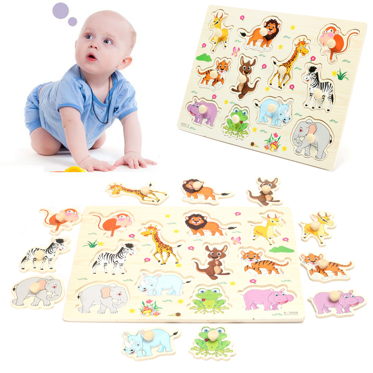Wooden Zoo Animal / Alphabet ABC Peg Jigsaw Puzzle Toy Toddlers Early Learning Preschool Educational Plate