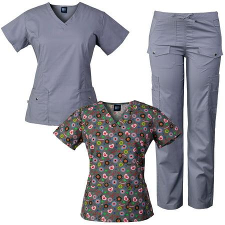 4368a6b11c9 Medgear - Medgear 3-Piece Combo Women's Stretch Scrubs Set with Snap ...