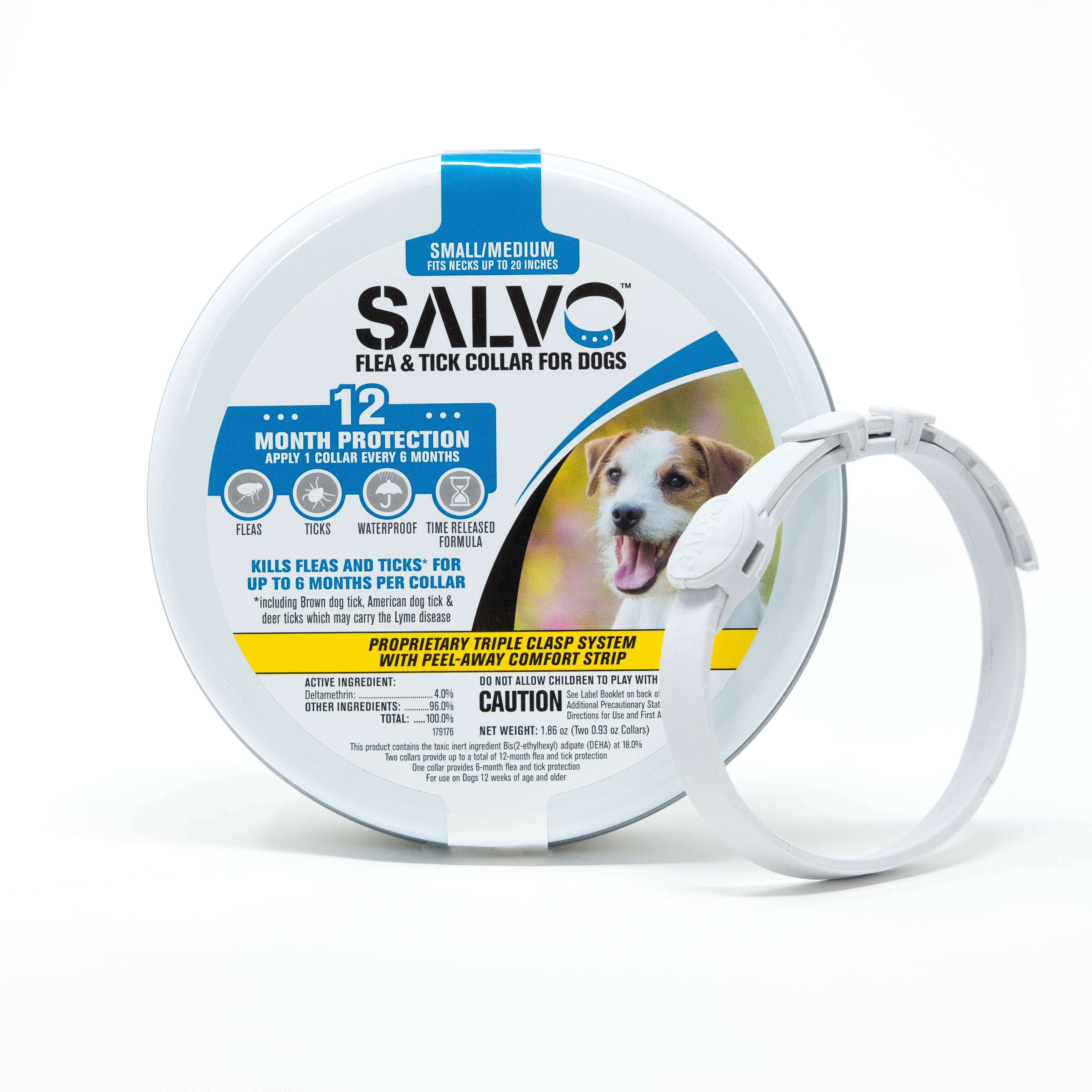 Salvo Flea & Tick Prevention Collar for Small Dogs, 12 Month Protection