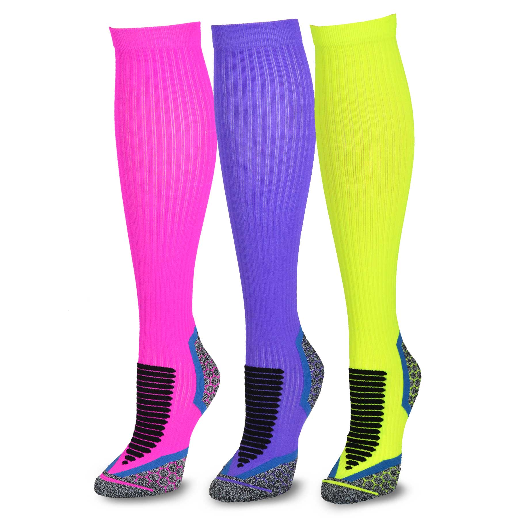 TeeHee Athletic Compression Cushioned 3-Pack Tube Socks, Size 9-11