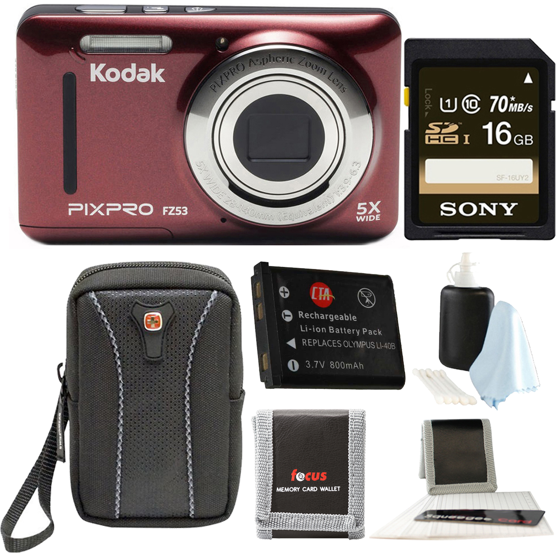 KODAK PIXPRO Friendly Zoom FZ53 (Red) with Sandisk 16GB Memory Card Bundle