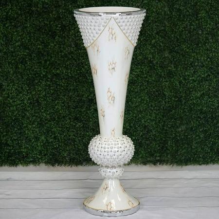 "Efavormart 43"" Large Peal Embellished White Trumpet Floor Flower Pot Vase With Mirror Mosaic Decoration ()"