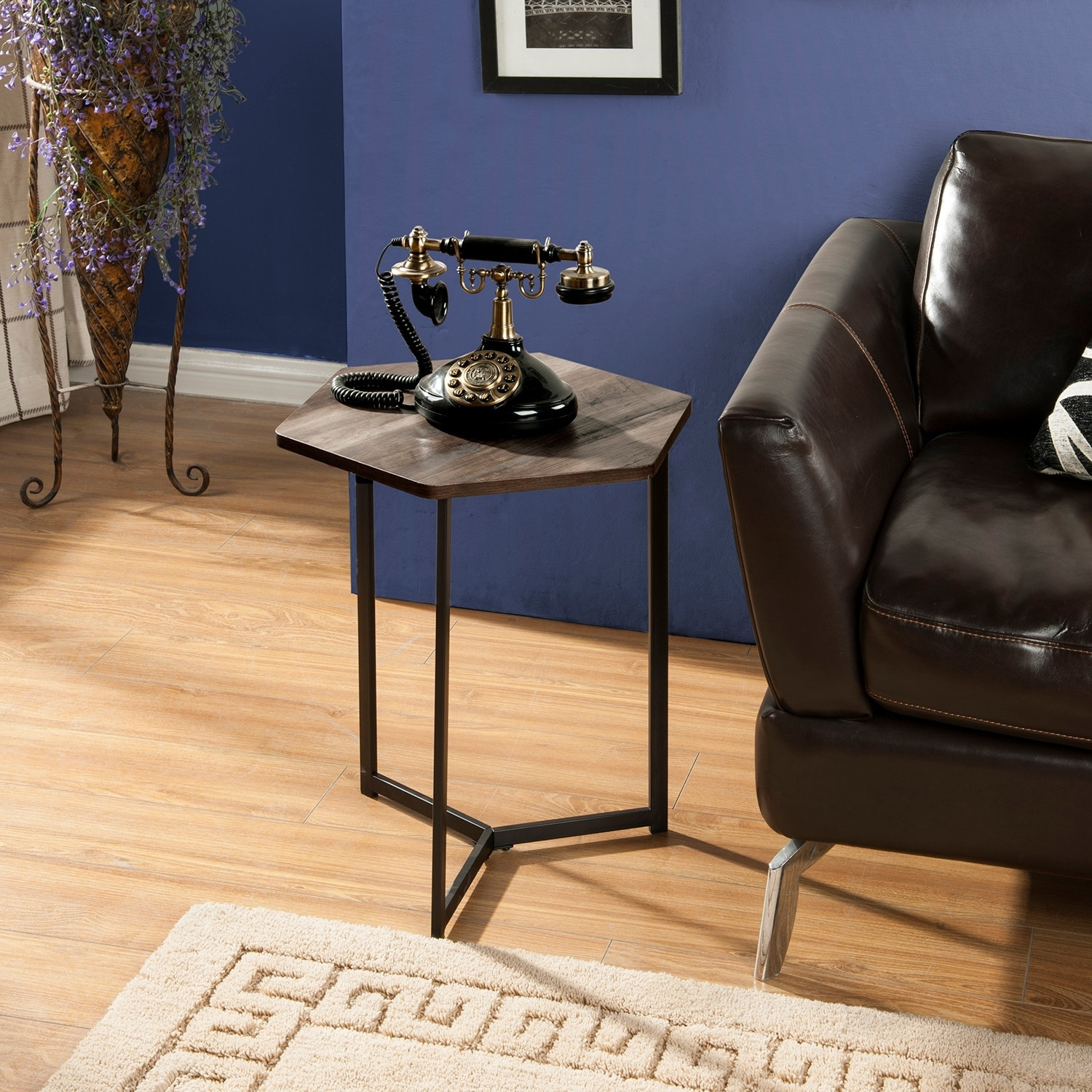 Homestar Hexagon Side Table in Black Oak Finish