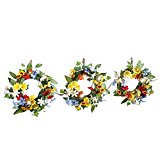 Spring Floral Wreaths Set Solar Outdoor Fence or Wall Decoration - Spring Door Decorations