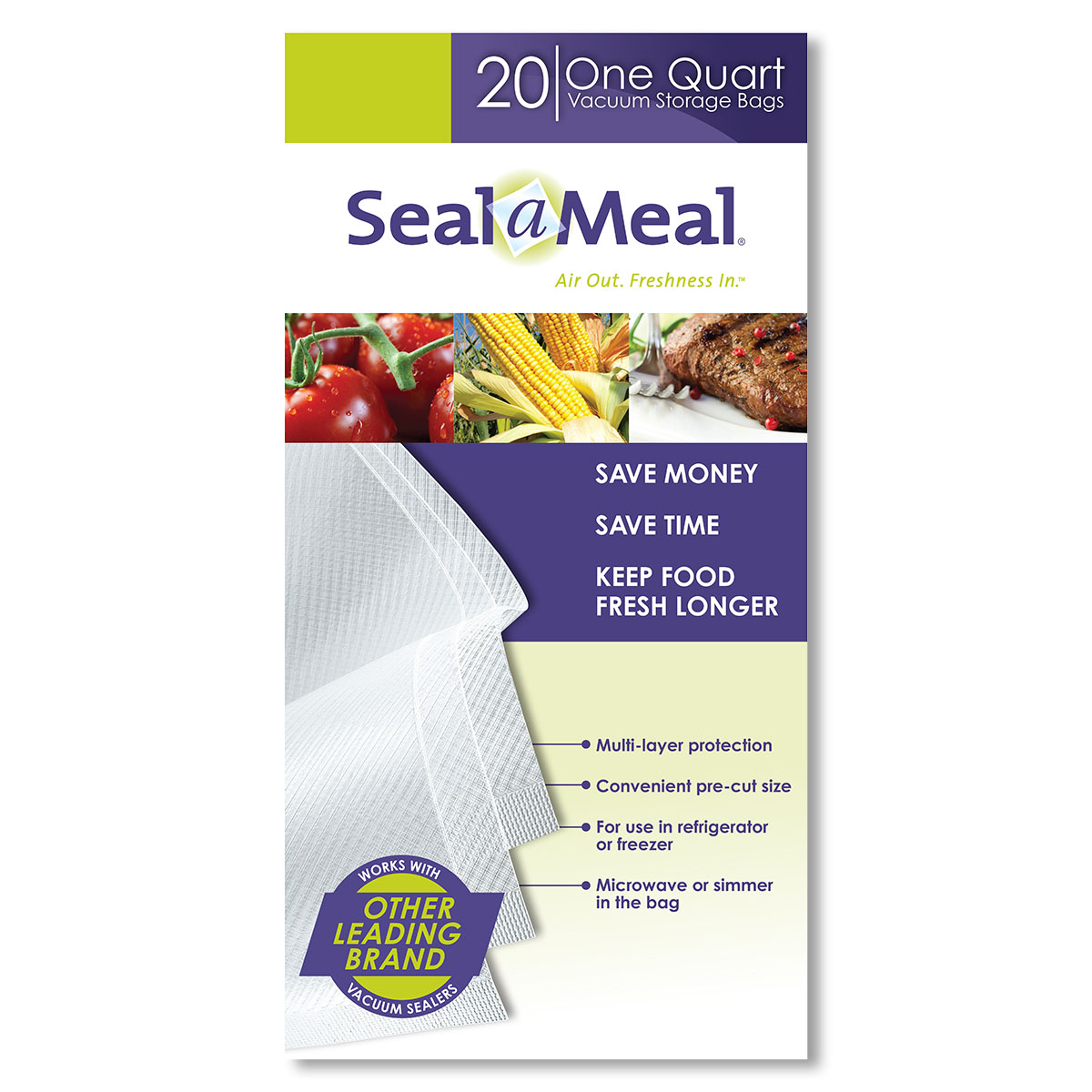 Seal-a-Meal 1-Quart Vacuum Seal Bags for Seal-a-Meal and FoodSaver Vacuum Sealers, 20 Pack