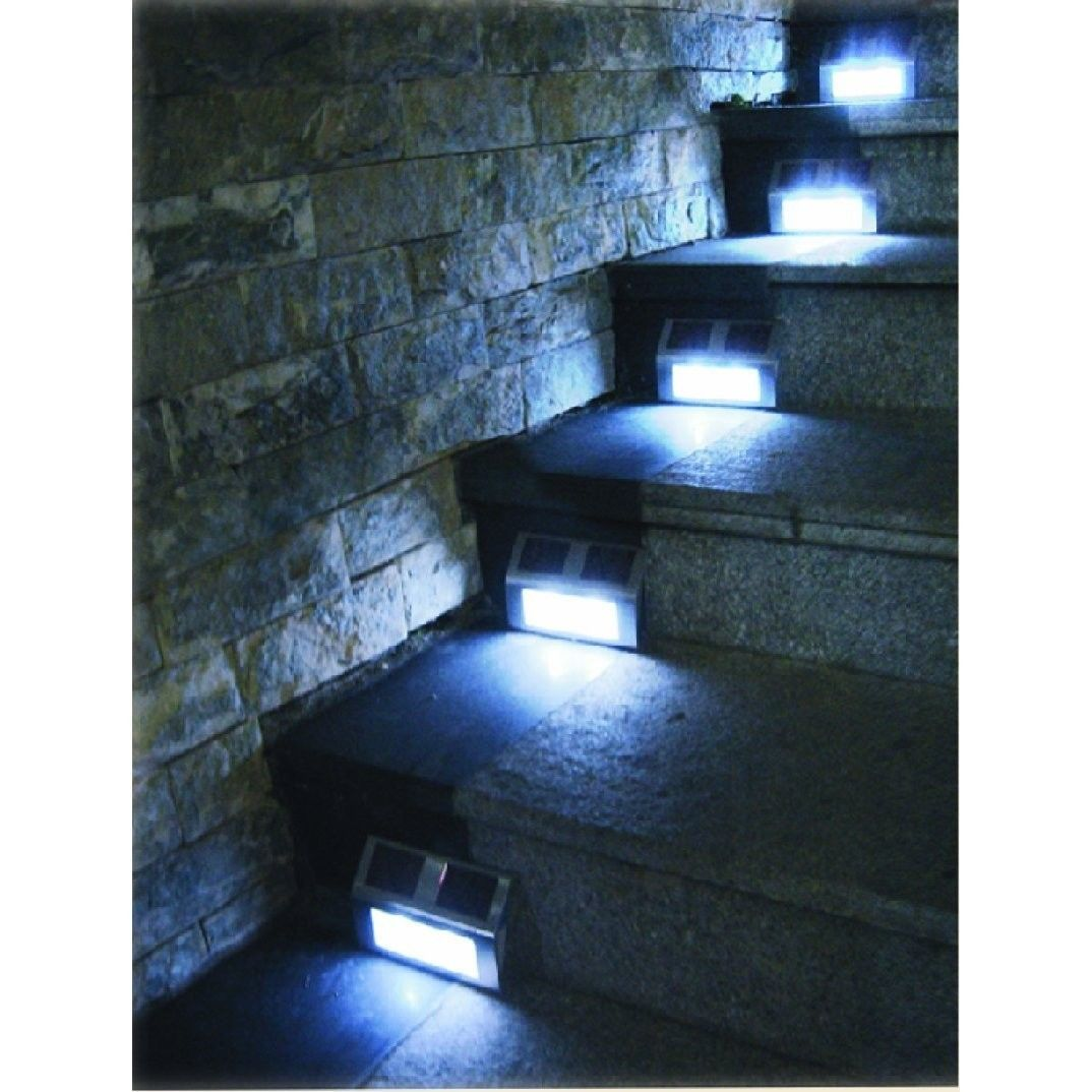 6 Solar Powered Steel LED Lights Pathway Path Step Stair Wall Garden Yard Lamps by