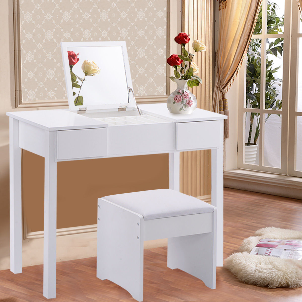 Costway White Vanity Dressing Table Set Mirrored Bedroom Furniture W Stool &Storage Box by Costway