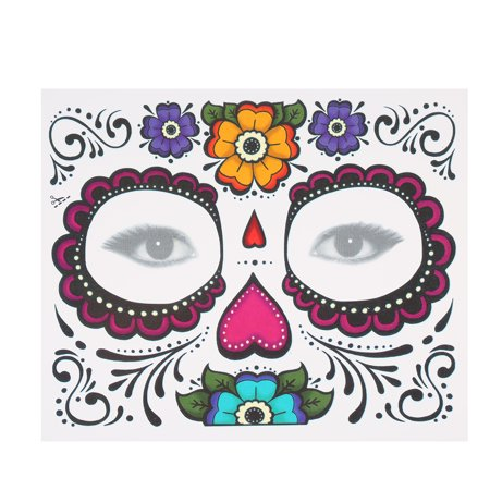 Temporary Tattoo Sticker Scars Terror Halloween Flowers Pattern Eyes Face Stickers Makeup (Best Body Makeup For Scars)