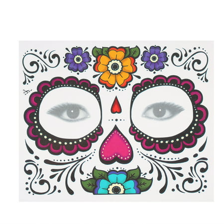 Temporary Tattoo Sticker Scars Terror Halloween Flowers Pattern Eyes Face Stickers Makeup Stage - Halloween Makeup Zipper Face Tutorial