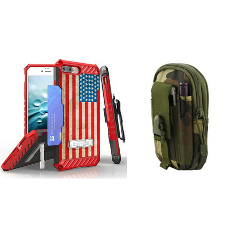 Beyond Cell Tri Shield Series Compatible with iPhone 8 Plus, iPhone 7 Plus Bundle with Military Grade Clip Holster Case (Vintage American Flag) with Travel Pouch (Jungle Camo) and Atom (Military Clip Pouch)