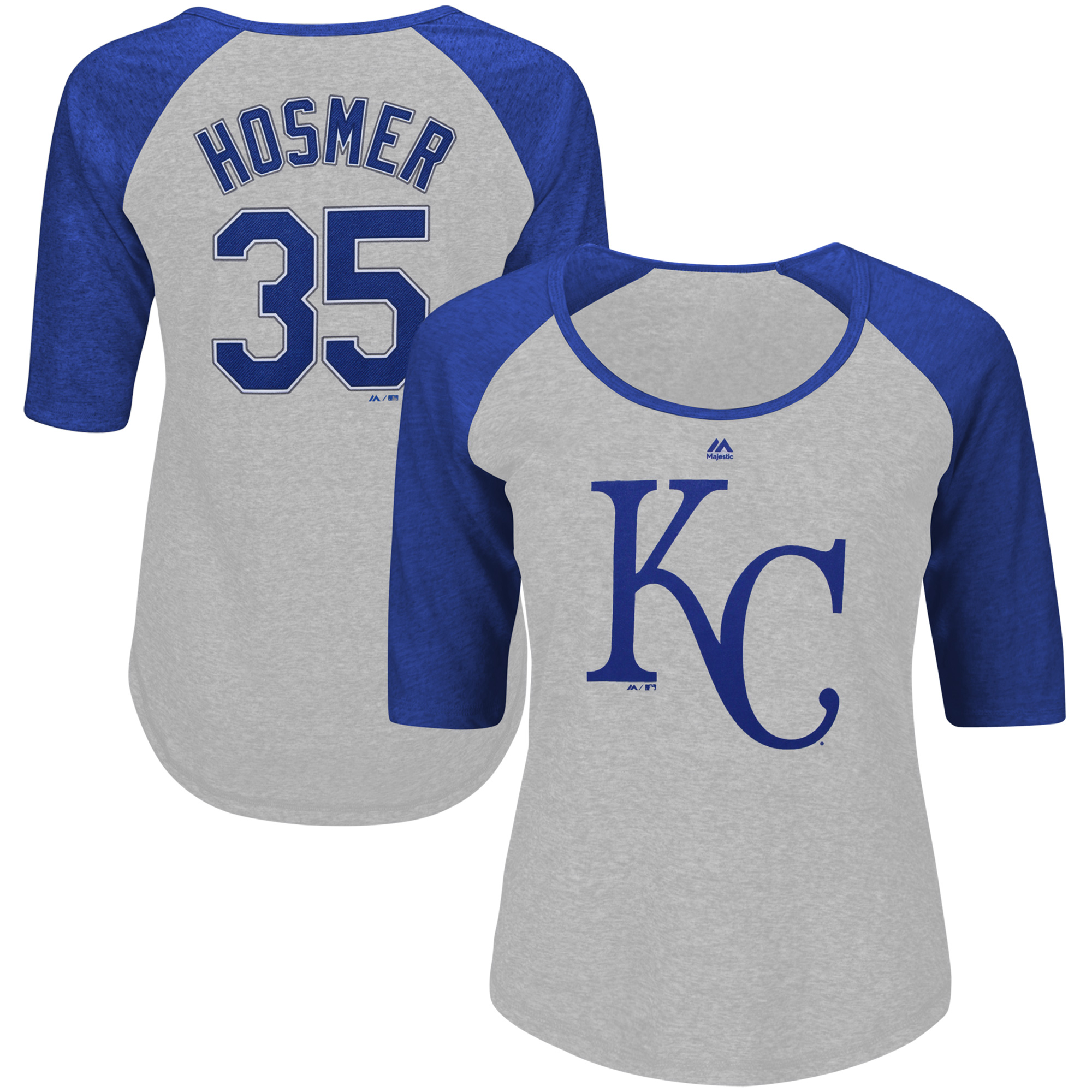 Eric Hosmer Kansas City Royals Majestic Women's Plus Size Name & Number Three-Quarter Sleeve Raglan T-Shirt - Gray