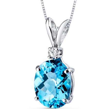 - 3.00 Carat Oval-Shape Swiss Blue Topaz and Diamond Accent 14kt White Gold Pendant, 18