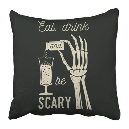 WOPOP Eat Drink and Be Scary Halloween Retro Badge Overlay Labels Seal Stamp Skeleton Hand with Potion Pillowcase 20x20 - Scary Halloween Labels For Bottles