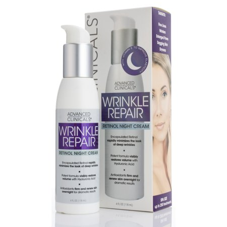 Advanced Clinicals Wrinkle Repair Night Cream with Retinol  Targets and reduces fine lines, wrinkles, enlarged pores, sagging skin, and dryness 4 Fl.