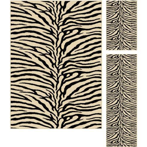 Alise Multi Collection Set of Three Zebra-Print Area Rugs Set
