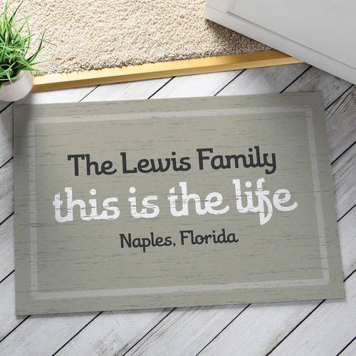 Personalized This Is The Life Doormat, Taupe