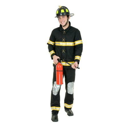 Fireman Costume For Adults (Adult Men's Black Firefighter Fireman Bunker Gear)
