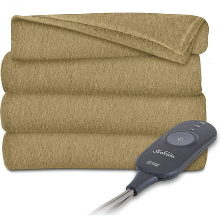 Sunbeam Electric Heated Electric Fleece Throw Blanket with 3 Heat Settings, Tan