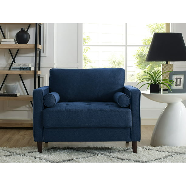 Lifestyle Solutions Mid-Century Modern Design Lorelei Large Armchair in Navy Blue Fabric