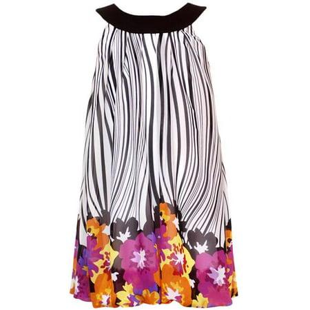 Rare Editions Black/ White Zebra Print Dress With Floral Border CLEARANCE 4 Border Print Dress