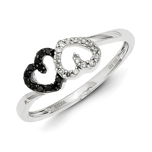 Sterling Silver Black and White Diamond Double Heart Ring - Ring Size: 6 to 8