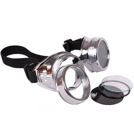 Star Power Steampunk Goggles Costume Accessory, Silver, One-Size
