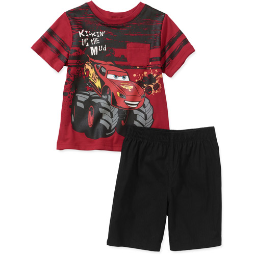Disney Baby Boys' Cars 2 Piece  Graphic Tee and Short Set