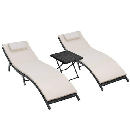 Walnew 3 PCS Patio Furniture Outdoor Lounge Chairs Adjustable Folding Lawn Poolside Patio Chaise Lounge Sets PE Rattan Chaise Lounges with Side Table and Beige Cushion ()