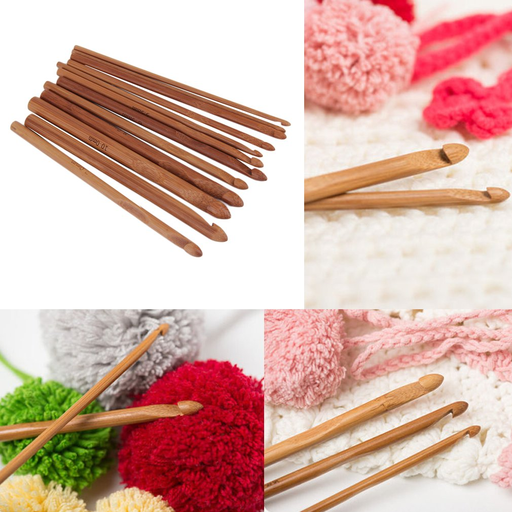 12 Size Bamboo Handle Crochet Hook Knit Yarn Craft Knitting Needle Set New