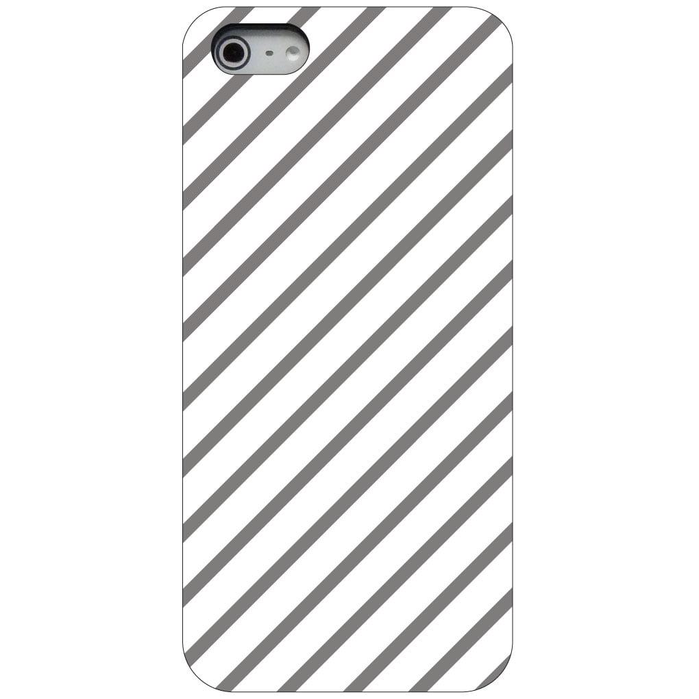 CUSTOM Black Hard Plastic Snap-On Case for Apple iPhone 5 / 5S / SE - Grey & White Diagonal Stripes